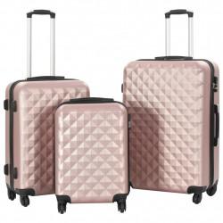 Sonata Комплект твърди куфари с колелца, 3 бр, розово злато, ABS - Куфари и Чанти