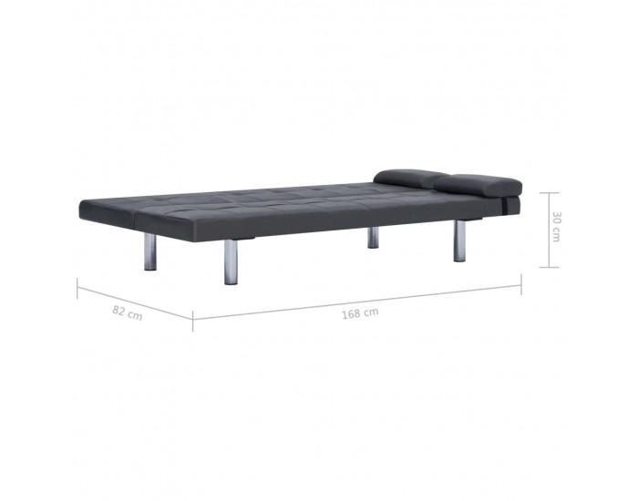 Sonata Разтегателен диван с две възглавници, сив, изкуствена кожа -