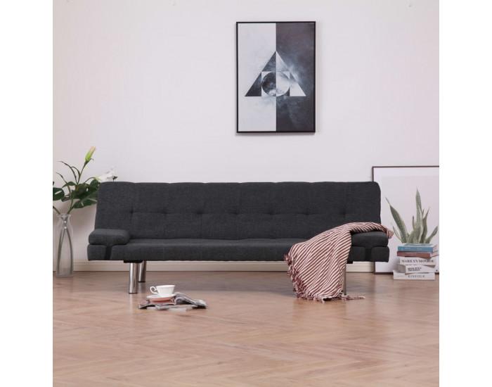 Sonata Разтегателен диван с две възглавници, тъмносив, полиестер -