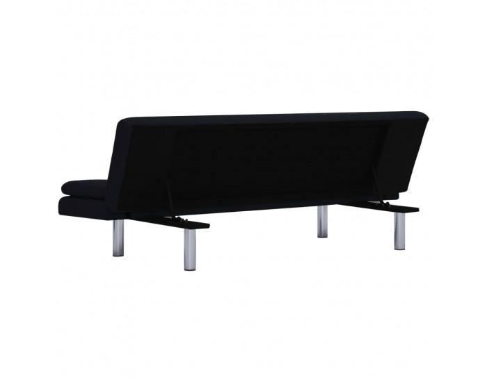 Sonata Разтегателен диван с две възглавници, черен, полиестер -