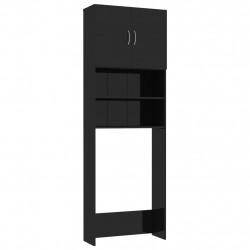 Sonata Шкаф за пералня, черно със силен гланц, 64x25,5x190 см, ПДЧ - Шкафове за Баня
