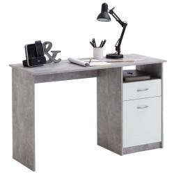 FMD Бюро с 1 чекмедже, 123x50x76,5 см, цвят бетон и бяло - Сравняване на продукти