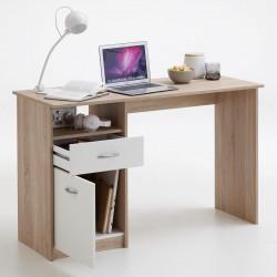 FMD Бюро с 1 чекмедже, 123x50x76,5 см, цвят дъб и бяло - Сравняване на продукти