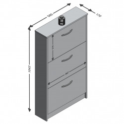 FMD Шкаф за обувки с 3 падащи врати, бял - Сравняване на продукти