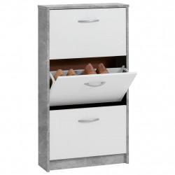 FMD Шкаф за обувки с 3 падащи врати, бял и бетонов цвят - Сравняване на продукти