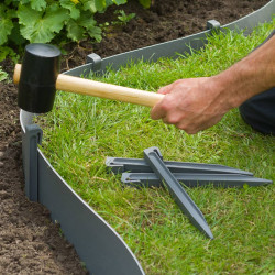 Nature Градински клинове за фиксиране, 10 бр, сиви, малки - Външни Структури