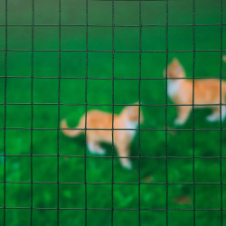 Nature Телена мрежа квадрат 0,5x2,5 м 13 мм стомана с пластмаса зелена - Огради
