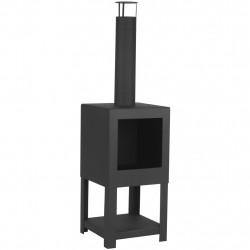 Esschert Design Външна камина с място за дърва, черна, FF410 - Камини, Комини и Печки на дърва