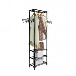 Sonata Стойка за дрехи, метал и нетъкан текстил, 55x28,5x175 см, черна - Обзавеждане на Бизнес обекти
