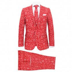 Sonata Мъжки коледен костюм с вратовръзка, 2 части, размер 46, червено - Сезонни и Празнични Декорации