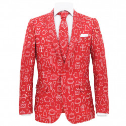 Sonata Мъжки коледен костюм с вратовръзка, 2 части, размер 54, червено - Сезонни и Празнични Декорации