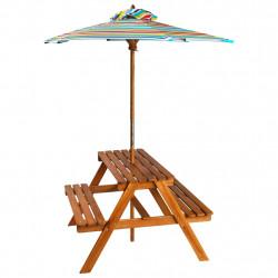 Sonata Детска маса за пикник с чадър, 79x90x60 см, акация масив - Градински комплекти