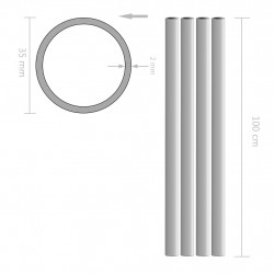 Sonata 4 бр алуминиеви тръби, кръгли, 1 м, Ø35x2 мм - Панели и Детайли