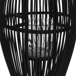 Sonata Висящ свещник фенер, бамбук, черен, 60 см - Сезонни и Празнични Декорации