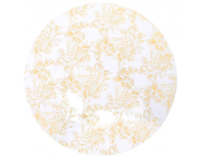 Sonata 2 бр стреч покривки за маса, 60 см, бели със златен принт