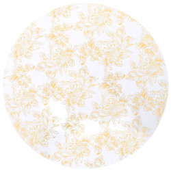 Sonata 2 бр стреч покривки за маса, 70 см, бели със златен принт - Калъфи за мебели