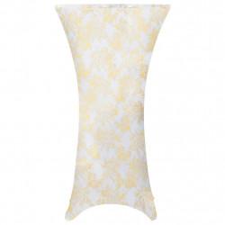 Sonata 2 бр стреч покривки за маса, 80 см, бели със златен принт - Калъфи за мебели