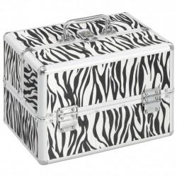Sonata Куфар за гримове, 22x30x21 см, с шарки на зебра, алуминий - Куфари и Чанти