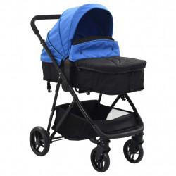 Sonata Детска/бебешка количка 2-в-1, синьо и черно, стомана - Детски превозни средства