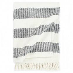 Sonata Декоративно одеяло, памук, ивици, 125x150 см, антрацит - Спално бельо