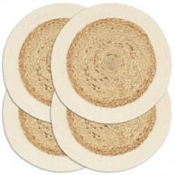 Sonata Подложки за хранене 4 бр естествени 38 см кръгли юта и памук - Кухненски аксесоари и прибори