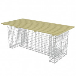 Sonata Градинска маса със стоманен габион, 180x90x74 см, бор - Градински комплекти