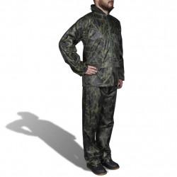 Мъжки дъждобран от две части с качулка, камуфлажен, размер L - Аксесоари за пътуване
