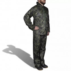 Мъжки дъждобран от две части с качулка, камуфлажен, размер ХХL - Аксесоари за пътуване