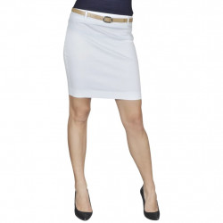 Къса пола с колан, бяла, размер 36 - Работно Облекло