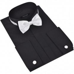 Мъжка риза за смокинг с бутонели и папийонка, черна, размер S - Спорт и Свободно време