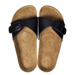 Чехли от био корк с каишка и катарама, унисекс, черни, размер 37 - Работно Облекло
