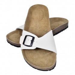 Чехли от био корк с каишка и катарама, унисекс, бели, размер 38 - Работно Облекло