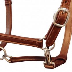 Оглавник за кон от естествена кожа, регулируем, кафяв - Спортове на открито