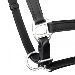 Оглавник за кон от естествена кожа, регулируем, черен - Спортове на открито