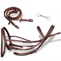 Кожена юзда и поводи за кон, кафяви - Спортове на открито
