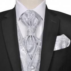 Мъжка жилетка за сватба, комплект, пейсли мотив, размер 48, сребриста - Работно Облекло