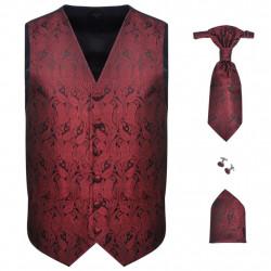 Мъжка жилетка за сватба, комплект, пейсли мотив, размер 54, бордо - Работно Облекло