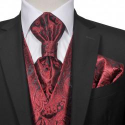 Мъжка жилетка за сватба, комплект, пейсли мотив, размер 56, бордо - Работно Облекло