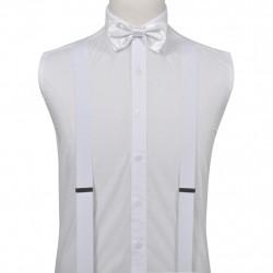 Мъжки смокинг аксесоари: тиранти, бутонели, папионка, кърпичка- бяло - Работно Облекло
