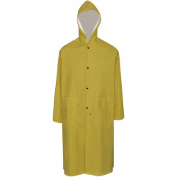 Водоустойчив дълъг дъждобран с качулка, жълт, L - Спорт и Свободно време