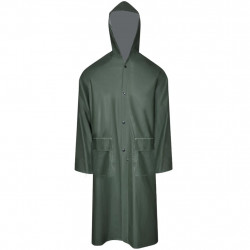 Водоустойчив дълъг дъждобран с качулка, зелен, M - Спорт и Свободно време
