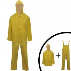 Водоустойчив дъждобран от две части с качулка, жълт, XXL - Спорт и Свободно време