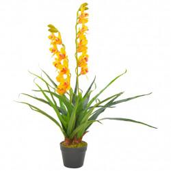 Sonata Изкуствено растение орхидея със саксия, жълто, 90 см - Изкуствени цветя