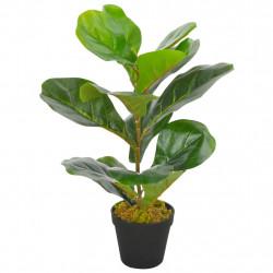 Sonata Изкуствено растение фикус лирата със саксия, зелено, 45 см - Изкуствени цветя