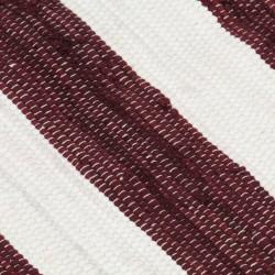 Sonata Ръчно тъкан Chindi килим, памук, 80x160 см, бордо и бяло - Килими, Мокети и Подложки