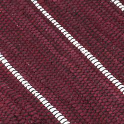 Sonata Ръчно тъкан Chindi килим, памук, 80x160 см, бордо - Килими, Мокети и Подложки