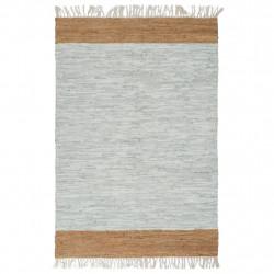 Sonata Ръчно тъкан Chindi килим кожа 80x160 см светлосиво жълтокафяво - Килими, Мокети и Подложки