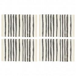 Sonata Подложки за хранене, 4 бр, антрацит и бяло, 30x45 см, памук - Sonata H