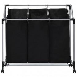 Sonata Кош за сортиране на пране с 3 торби, черен, стомана - Техника и Отопление