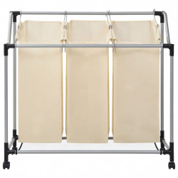 Sonata Кош за сортиране на пране с 3 торби, кремав, стомана - Перални